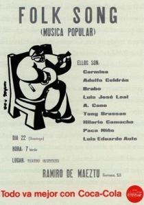 """Cártel del 1er concierto colectivo de Canción del Pueblo en el instituto Ramiro de Maeztu. Cortesía de """"Plómez"""" (http://www.deljunco.com/hilariocamacho/index.php)"""