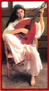 La bellísima María del mar Bonet tocando un instrumento popular