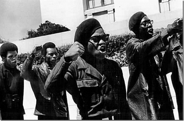 The Black Panthers in front of the Alemeda Courthouse during Huey Newton's Trial