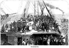 Salida de emigrantes irlandeses hacia Nueva York. London News 6 julio 1850