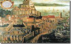 L'Expulsió al Port de Denia. Embarco de moriscos en el Grao de Denia. Per Vicente Mostre o Vicent Mestre (1613)