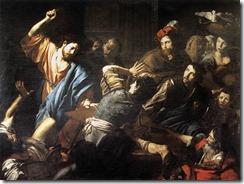 Jesús expulsando a los mercaderes del templo, Valentin de Boulogne