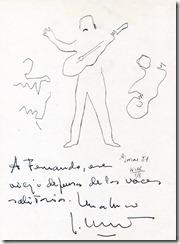 Dibujo de Labordeta dedicado a Fernando Glez. Lucini