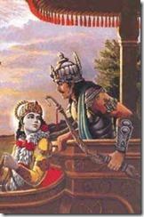 Krishna y Arjuna conversando antes de la Batalla de Kurukshetra, dando lugar al Bhagavad-Gita