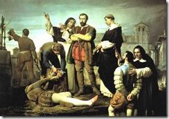 Los comuneros de Castilla, ajusticiamiento de los capitanes comuneros en Villalar el 24 de abril de 1521, por Antonio Gisbert, año 1860.
