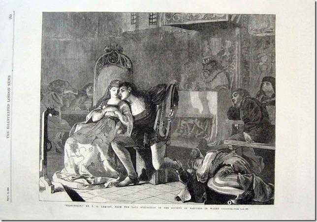 Glasgerion By Lamont Antique Print 1869 Fine Art