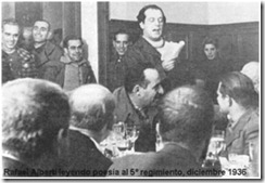 Rafael Alberti reading his poems to the V Regiment (February, 1936)