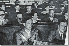 Antonio Machado sits down (second line) during the Second Congress of Writers in Defense of Culture, in Valencia, 1937