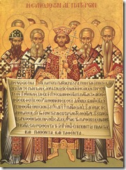 Icono donde aparece Constantino presidiendo el Primer Concilio de Nicea.