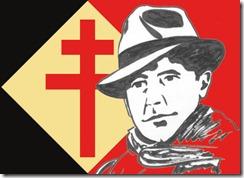 Logo de la Resistencia: la cruz emblema de la Francia Libre y la efigie de Jean Moulin, mártir de la resistencia francesa