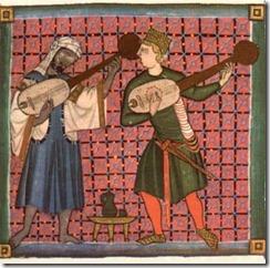 Miniatura de unos juglares en las Cantigas de Alfonso X de Castilla