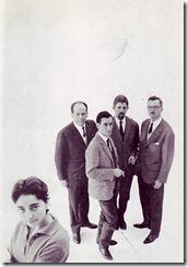 The Els Setze Jutges' 1st poster: Remei Marguerit, Miquel Porter, Delfí Abella, Josep Maria Espinàs & Pi de la Serra