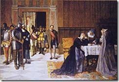 María Pacheco después de Villalar, cuadro del pintor Vicente Borrás (s. XIX)